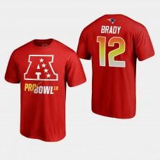 New England Patriots #12 Tom Brady 2019 Pro Bowl AFC Roster T- Shirt - Red