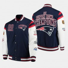 G- III Sports by Carl Banks New England Patriots #00 Custom Super Bowl Champions Canvas Varsity Jacket - Navy