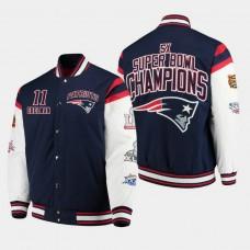 G- III Sports by Carl Banks New England Patriots #11 Julian Edelman Super Bowl Champions Canvas Varsity Jacket - Navy