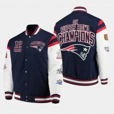 G- III Sports by Carl Banks New England Patriots #12 Tom Brady Super Bowl Champions Canvas Varsity Jacket - Navy