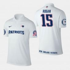 New England Patriots #15 Chris Hogan Player Performance Polo - White