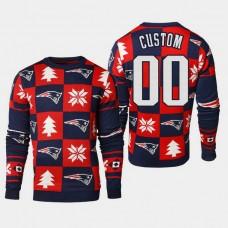New England Patriots #00 Custom 2018 Christmas Ugly Sweater - Navy