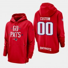 New England Patriots #00 Custom Sideline Lockup Pullover Hoodie - Red