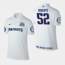 New England Patriots #52 Elandon Roberts Super Bowl LIII Champions Performance Polo - White