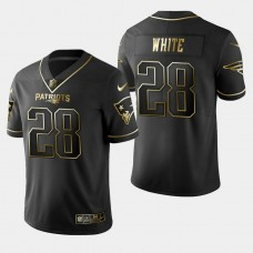 New England Patriots #28 James White Golden Edition Vapor Untouchable Limited Jersey - Black