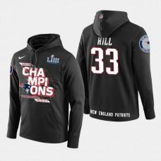 New England Patriots #33 Jeremy Hill Super Bowl LIII Champions Pullover Hoodie - Black