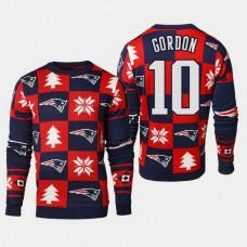 New England Patriots #10 Josh Gordon 2018 Christmas Ugly Sweater - Navy