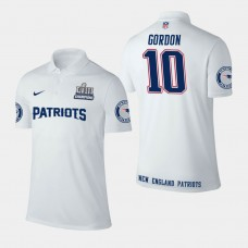New England Patriots #10 Josh Gordon Super Bowl LIII Champions Performance Polo - White
