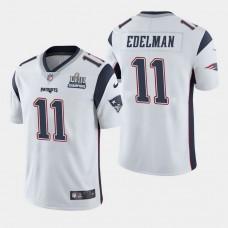 New England Patriots #11 Julian Edelman Super Bowl LIII Champions Vapor Untouchable Limited Away Jersey - White