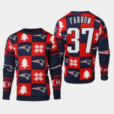 New England Patriots #37 Kenneth Farrow 2018 Christmas Ugly Sweater - Navy