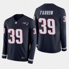 New England Patriots #39 Kenneth Farrow Therma Long Sleeve Home Jersey - Navy