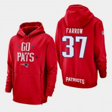 New England Patriots #37 Kenneth Farrow Sideline Lockup Pullover Hoodie - Red