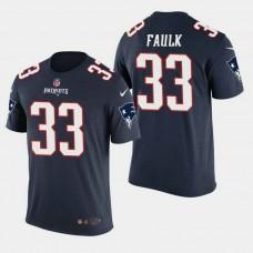 New England Patriots #33 Kevin Faulk Color Rush T- Shirt - Navy
