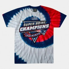 New England Patriots Spiral Tie Dye Super Bowl LIII Champions T- Shirt - Navy