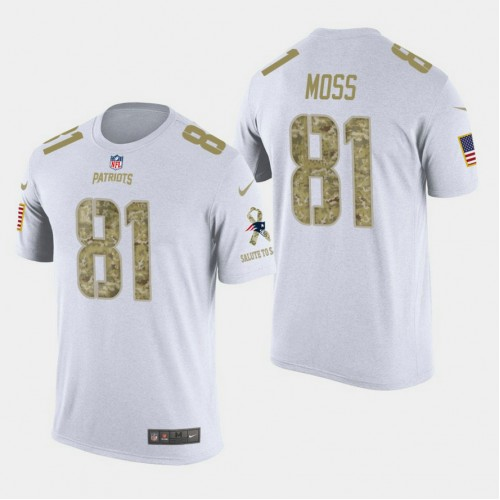 New England Patriots #81 Randy Moss Salute to Service T- Shirt - White