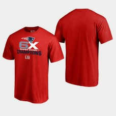New England Patriots Roll Out 6- Time Super Bowl Champions T- Shirt - Red