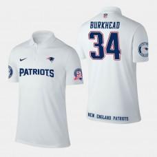 New England Patriots #34 Rex Burkhead Player Performance Polo - White