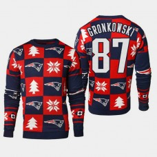 New England Patriots #87 Rob Gronkowski 2018 Christmas Ugly Sweater - Navy