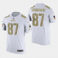 New England Patriots #87 Rob Gronkowski Salute to Service T- Shirt - White