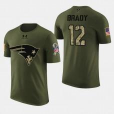 New England Patriots #12 Tom Brady 2018 Salute to Service T- Shirt - Military Digital Camo