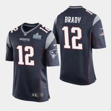 New England Patriots #12 Tom Brady Super Bowl LIII Game Home Jersey - Navy