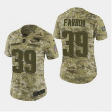 Women's New England Patriots #39 Kenneth Farrow 2018 Salute To Service Elite Jersey - Camo