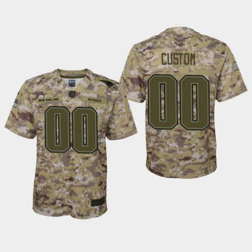 Youth New England Patriots #00 Custom 2018 Salute To Service Game Jersey - Camo