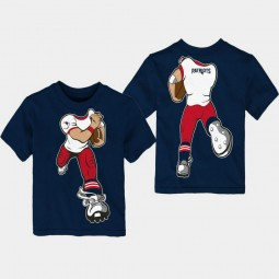 Youth New England Patriots Yard Rush Cartoon Navy T- Shirt