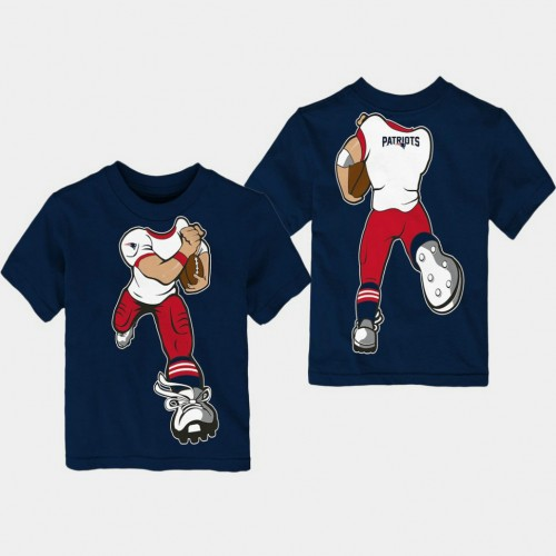 Youth New England Patriots Yard Rush Cartoon Navy T- Shirt