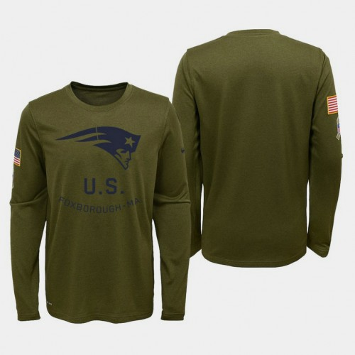 Youth New England Patriots 2018 Salute To Service Olive Long Sleeve T- Shirt