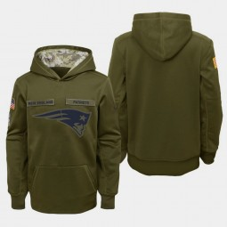 Youth New England Patriots 2018 Salute To Service Olive Pullover Hoodie