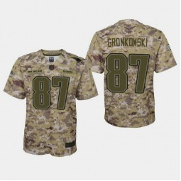 Youth New England Patriots #87 Rob Gronkowski 2018 Salute To Service Game Jersey - Camo