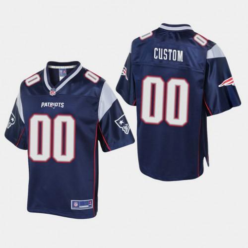 Youth New England Patriots #00 Custom Pro Line Home Jersey - Navy