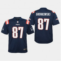 Youth New England Patriots #87 Rob Gronkowski Color Rush Game Home Jersey - Navy