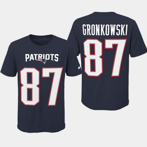 Youth New England Patriots #87 Rob Gronkowski Player Pride T- Shirt - Navy